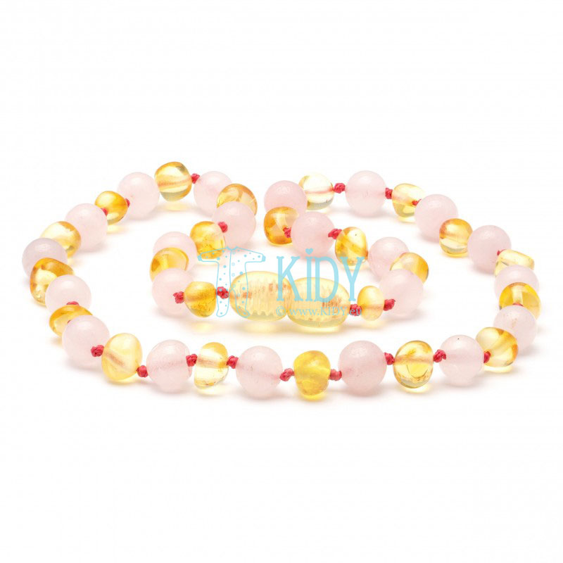 Amber LEMON teething necklace with rose quartz