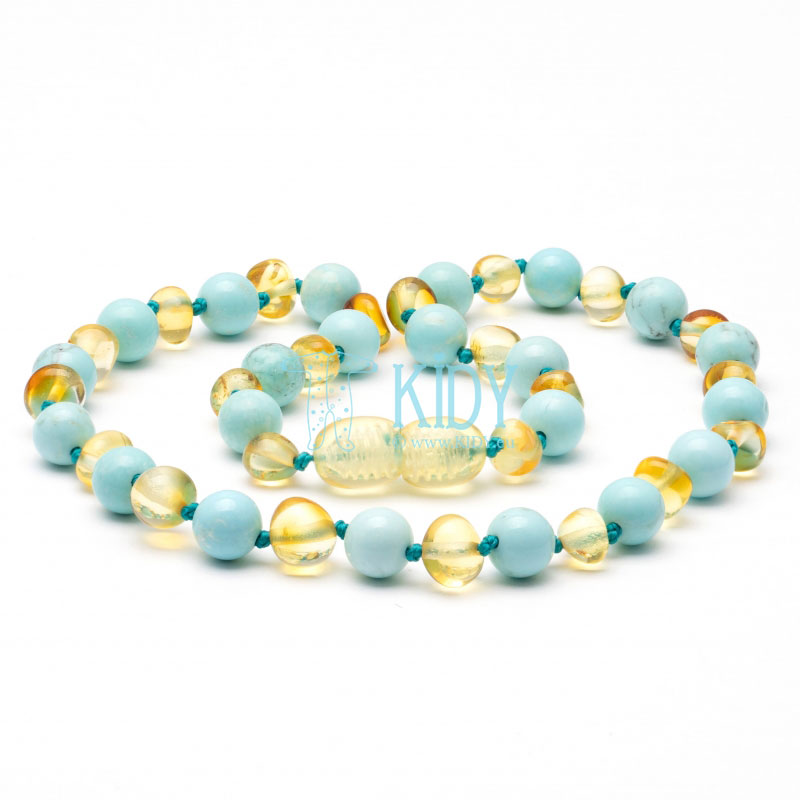 Amber LEMON teething necklace with turquoise (Baltic Amber)