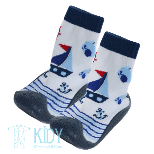Navy rubber soled SNEAKERS socks