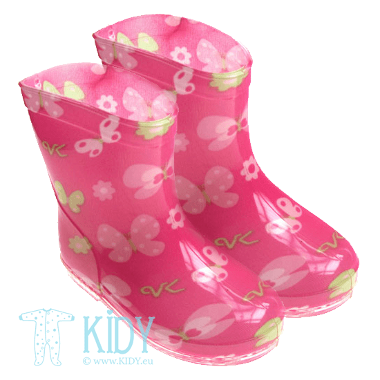 Pink FLOWER wellington boots