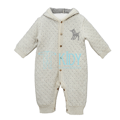 Ecru LENNY playsuit of merino wool