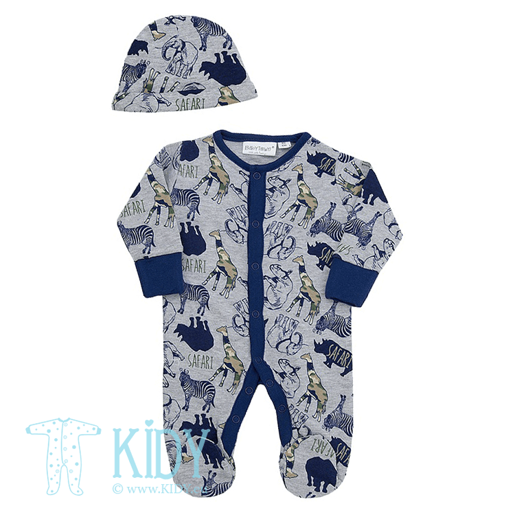 Grey SAFARI sleepsuit with hat