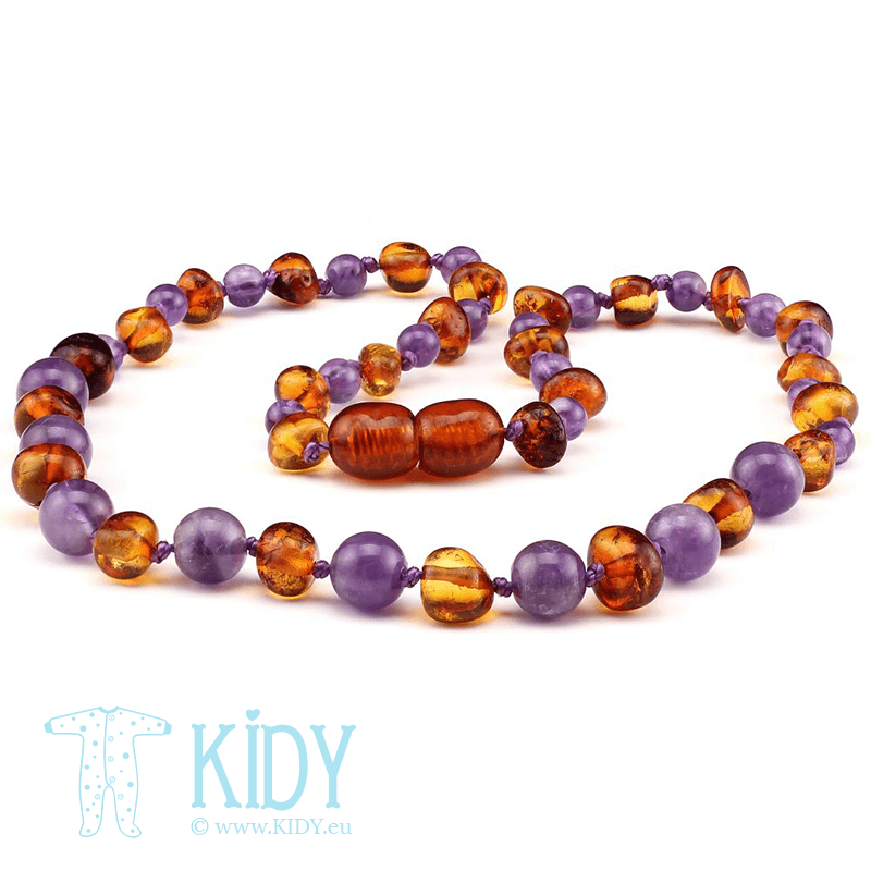 Amber COGNAC teething necklace with amethyst (Baltic Amber)