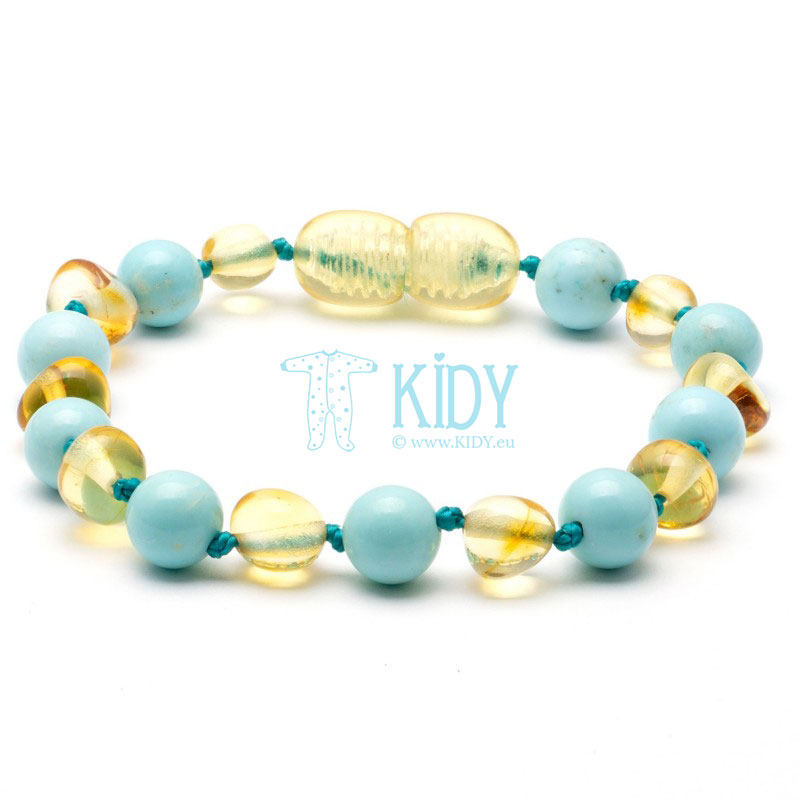 Amber MULTI teething bracelet with turquoise (Baltic Amber)