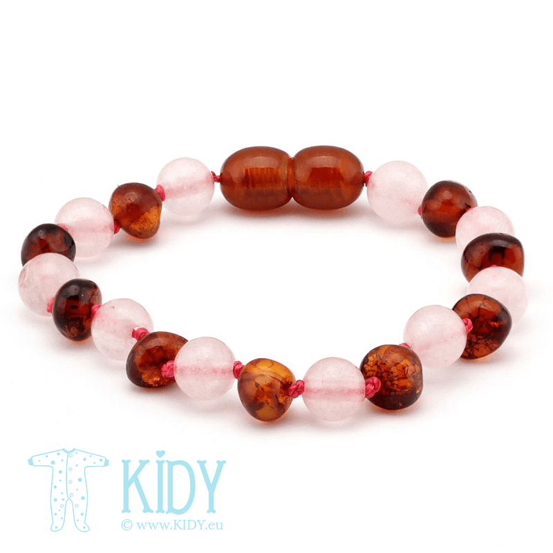 Amber MULTI teething bracelet with rose quartz (Baltic Amber)