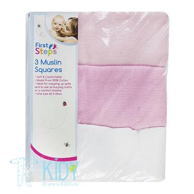 Rožinis komplektas FIRST STEPS: 3 muslino servetėlės