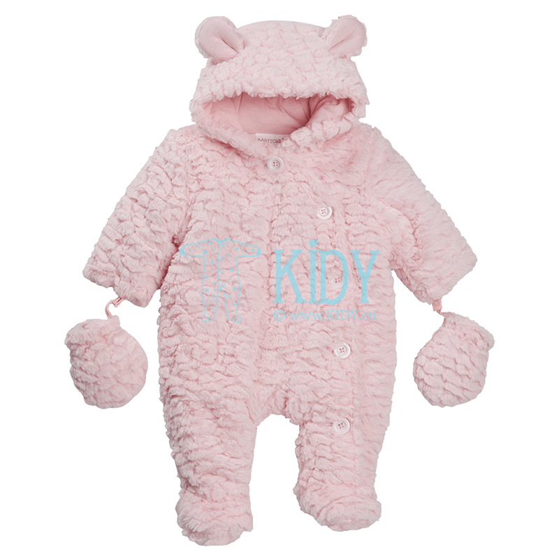Pink BABY BEAR pramsuit with mittens