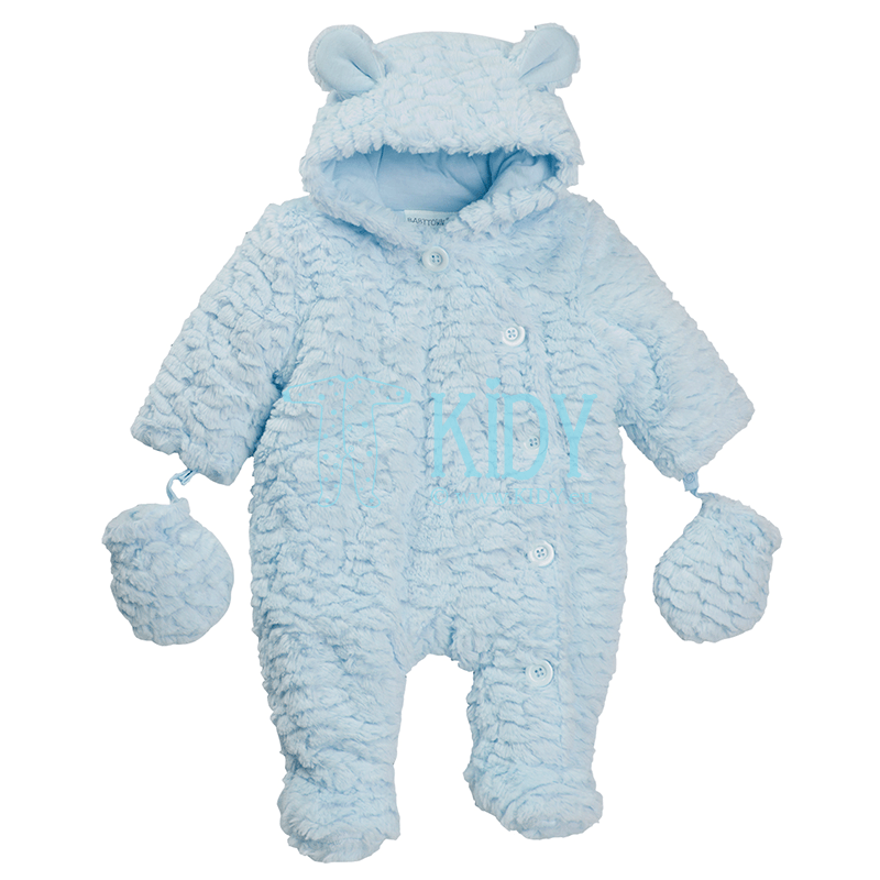 Blue BABY BEAR pramsuit with mittens