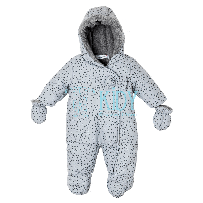 Grey EYELASH snowsuit with mittens