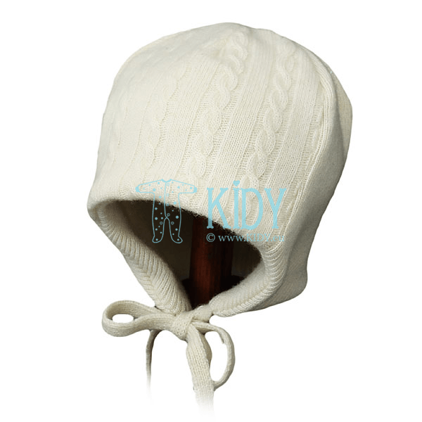 Knitted creamy MERINO wool hat