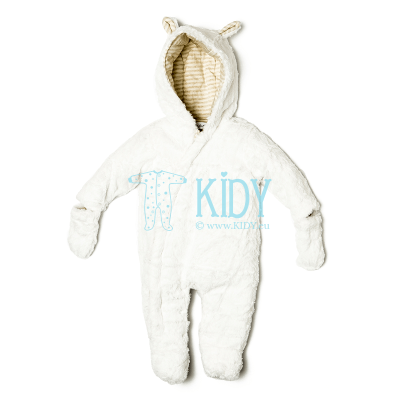 White ELE snowsuit with mitts