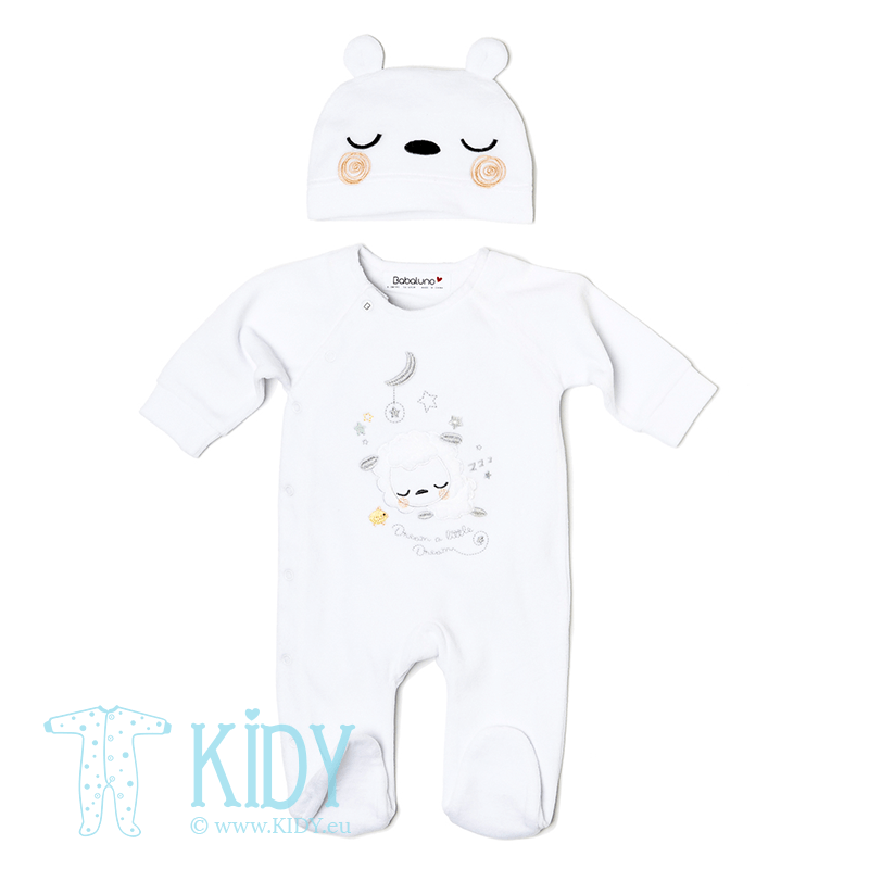 White DREAM sleepsuit with hat