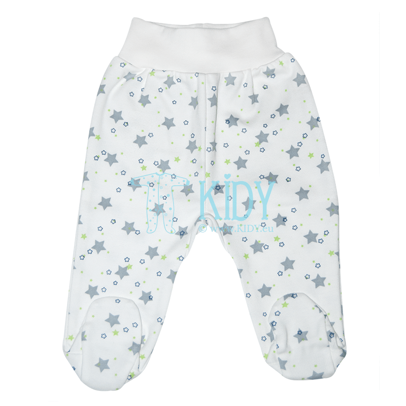 White STARS footed pants
