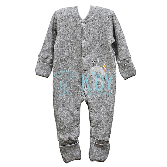 Grey ABBY sleepsuit with anti-scratch mitts