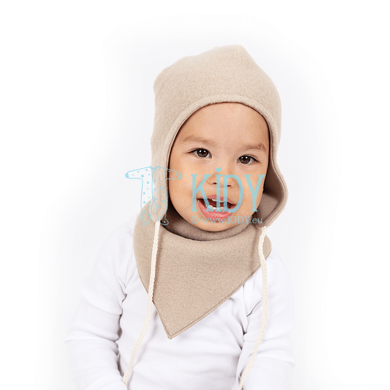 Beige AVIUKAS set: hat, bandana and mittens