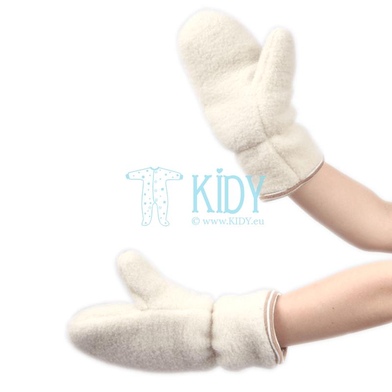 Ecru AVIUKAS mittens for babies (Flokati)