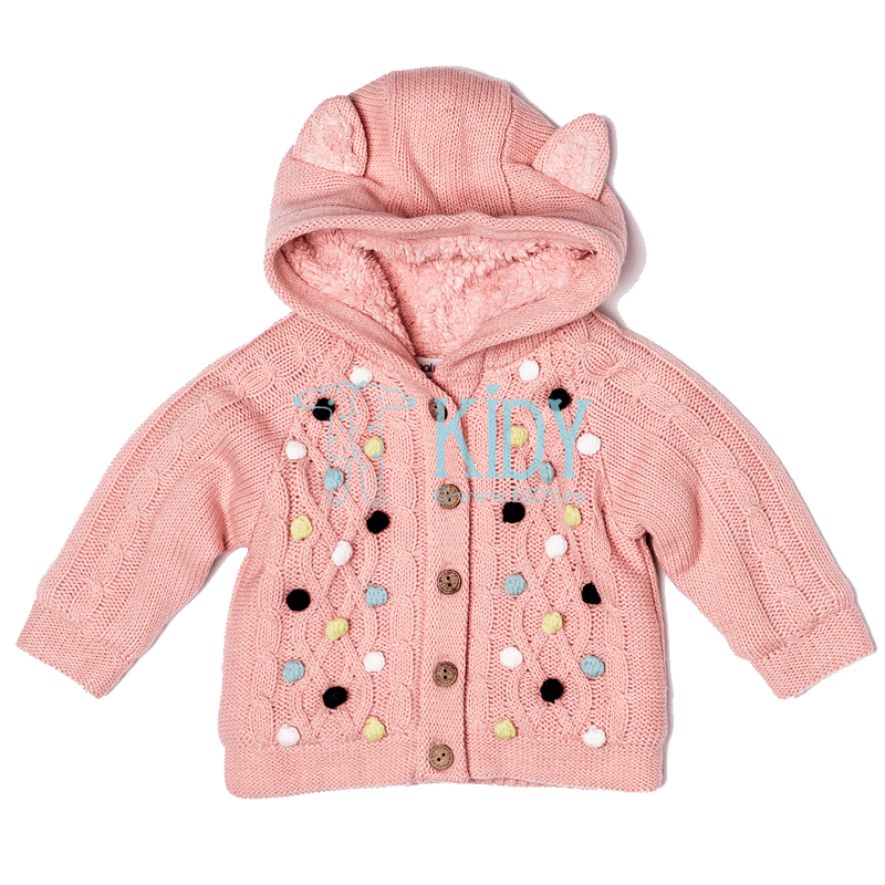 Pink knitted fur-lined PRINCESS cardigan