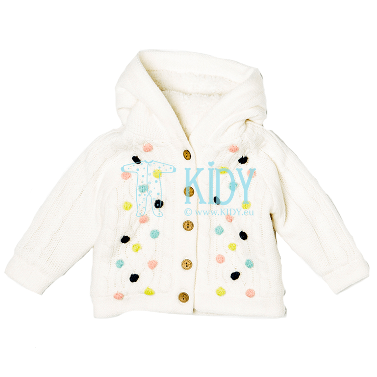 White knitted fur-lined PRINCESS cardigan (Babaluno)