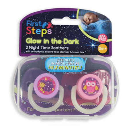 Pink silicone, orthodontic, glowing in the dark NIGHT TIME soother