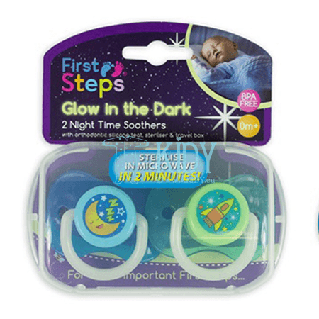 Silicone, orthodontic, glowing in the dark NIGHT TIME soother (First Steps)