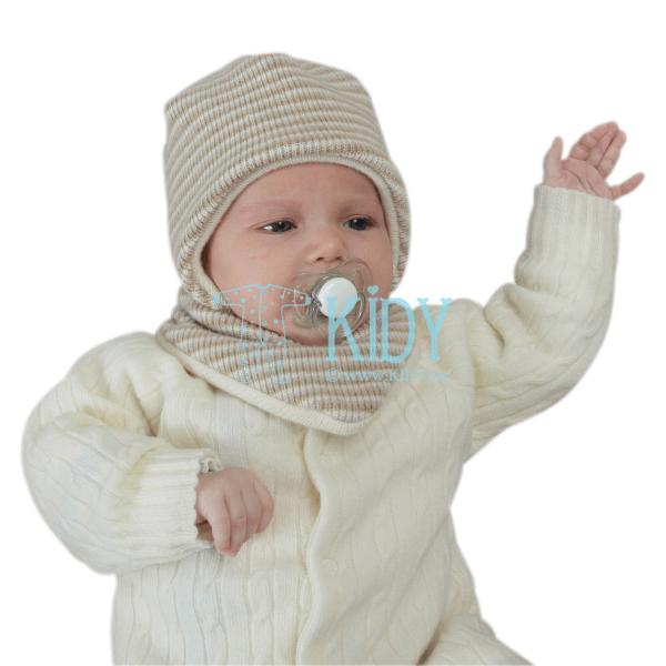 Rusvai gelsva merino vilnos kepurė su raisteliais