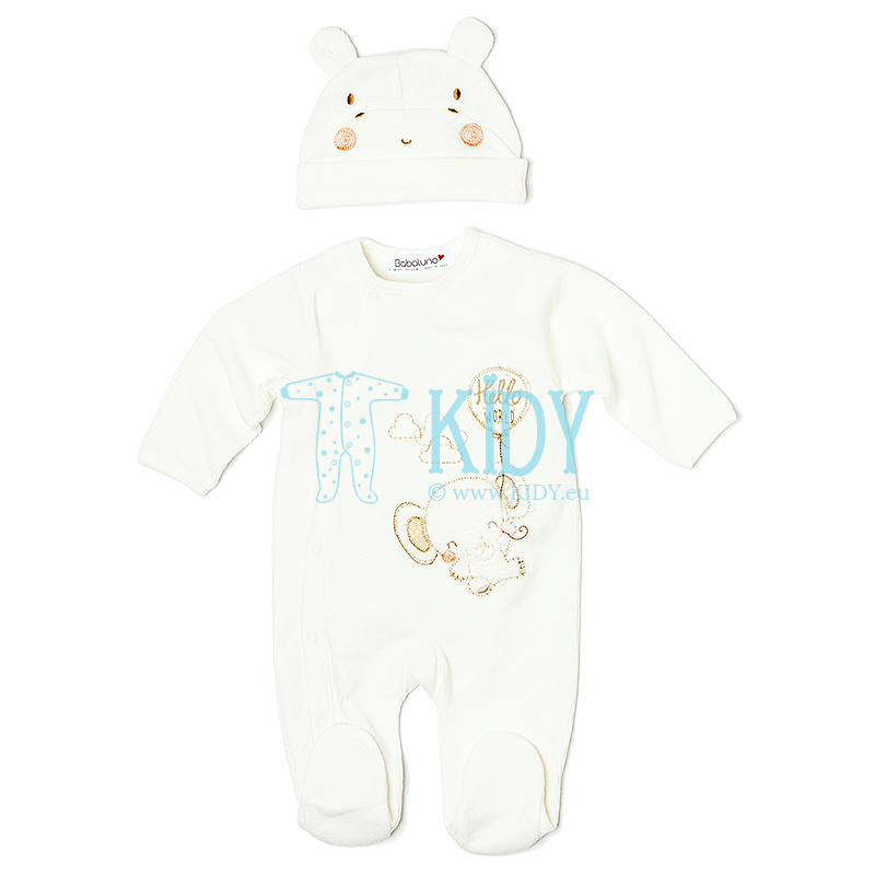 White velor ELE sleepsuit with hat