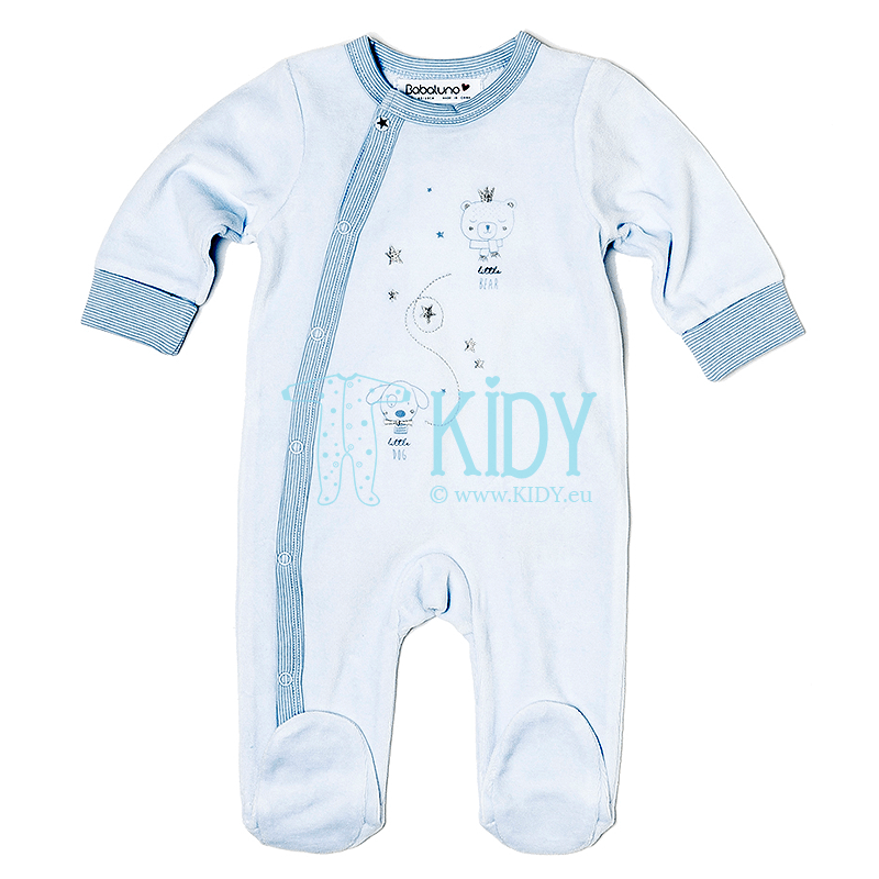 Blue velour DOG sleepsuit