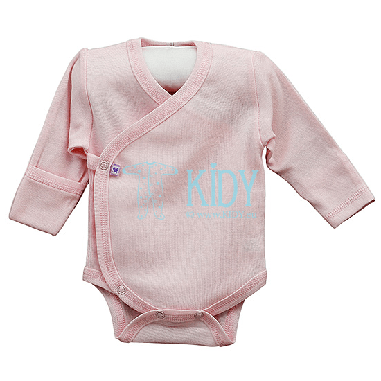 Pink PLAIN kimono bodysuit with anti-scratch mitts