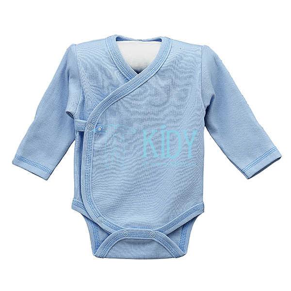 Blue PLAIN kimono bodysuit with anti-scratch mittens