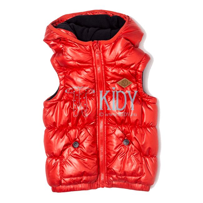 Red hooded BAY gilet