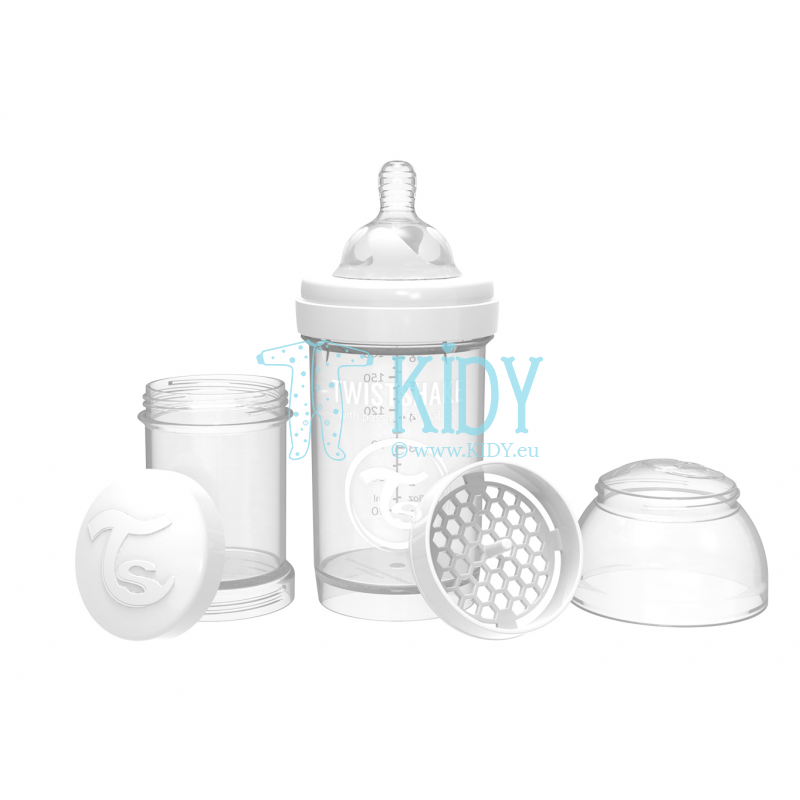 White ANTI-COLIC feeding bottle