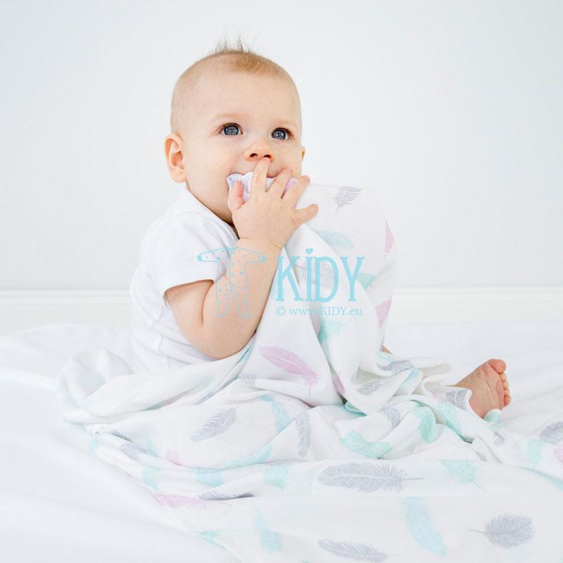 White Piórka swaddle blanket (MAKASZKA) 5