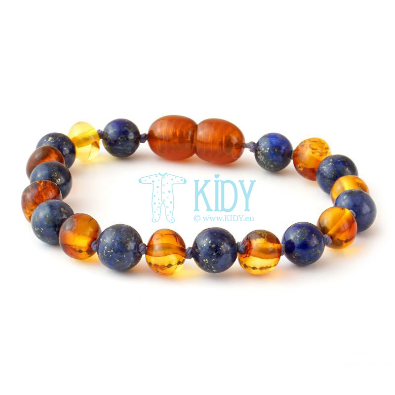 Amber MULTI teething bracelet with lapis lazuli (Baltic Amber) 5