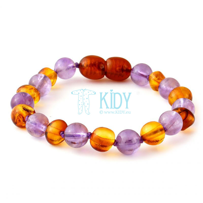 Amber MULTI teething bracelet with amethyst (Baltic Amber) 5