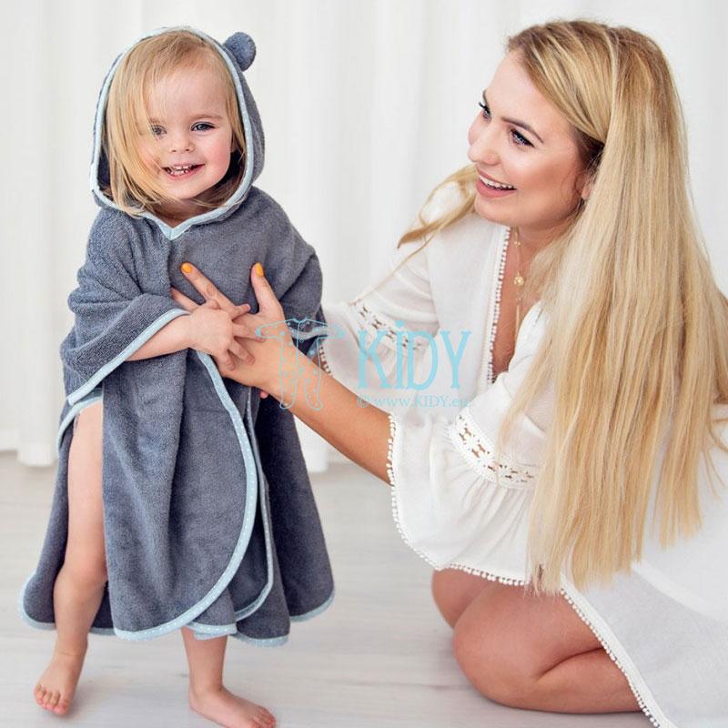 Grey bamboo supeRRO poncho towel (Lullalove) 5