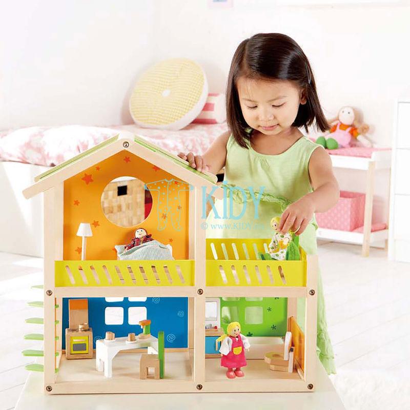 Medinis lėlių namas Linksmoji Vila su baldais (Hape) 5