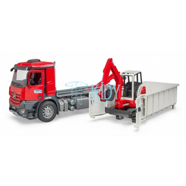 MB Arocs sunkvežimis su kilnojamu konteineriu ir Schaeff mini ekskavatorius (BRUDER) 5