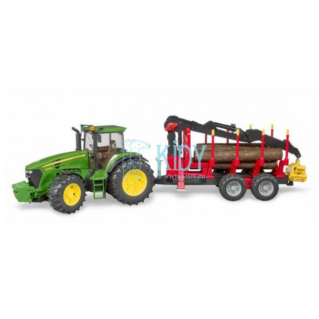 John Deere 7930 traktorius su pakrovimo priekaba + 4 rąstai (BRUDER) 5