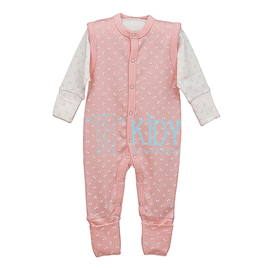 Pink and white LUCKY sleepsuit
