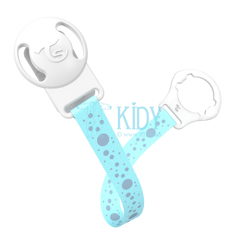 Blue BUBBLES pacifier clip