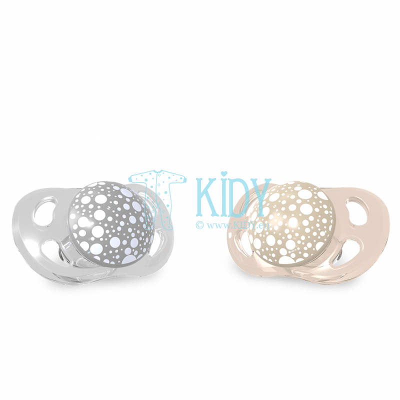Grey and beige PASTEL BEIGE GREY pacifiers