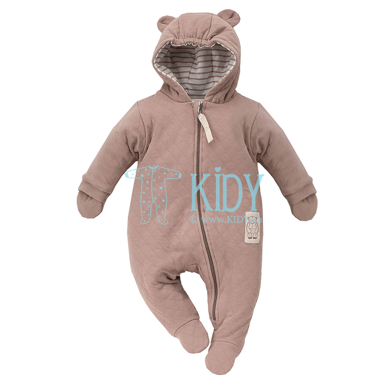 Brown TEDDY BEAR warmed overall with anti-scratch mitts