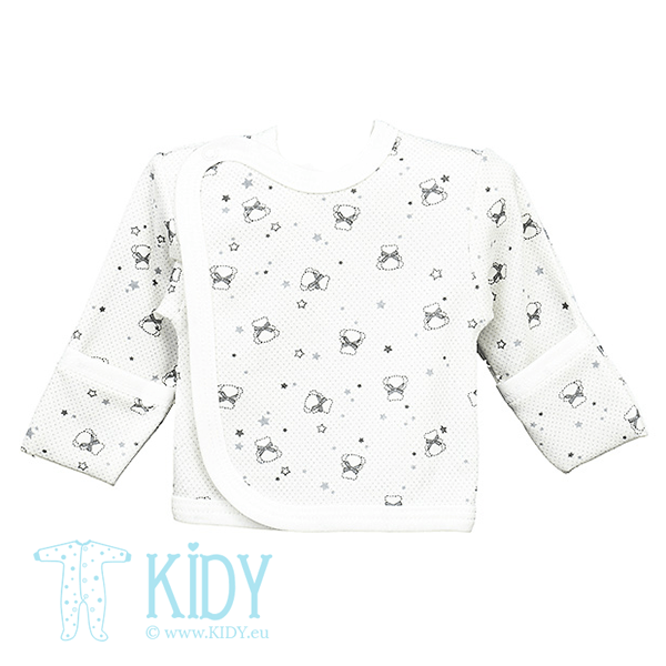 White CUTE easy-shirt with anti-scratch mitts
