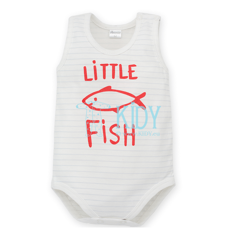 White LITTLE FISH sleeveless bodysuit for baby boy