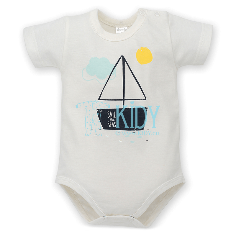 White LITTLE FISH shortsleeved bodysuit