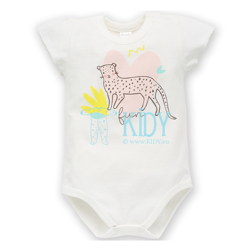 White SWEET PANTHER shortsleeved bodysuit