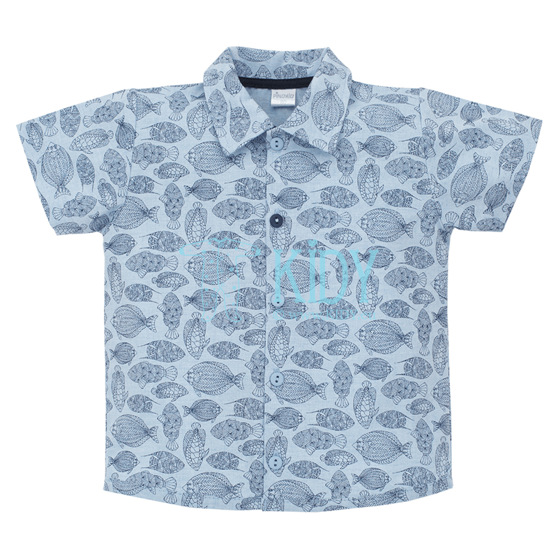Blue LITTLE FISH shirt with short sleeves (Pinokio)