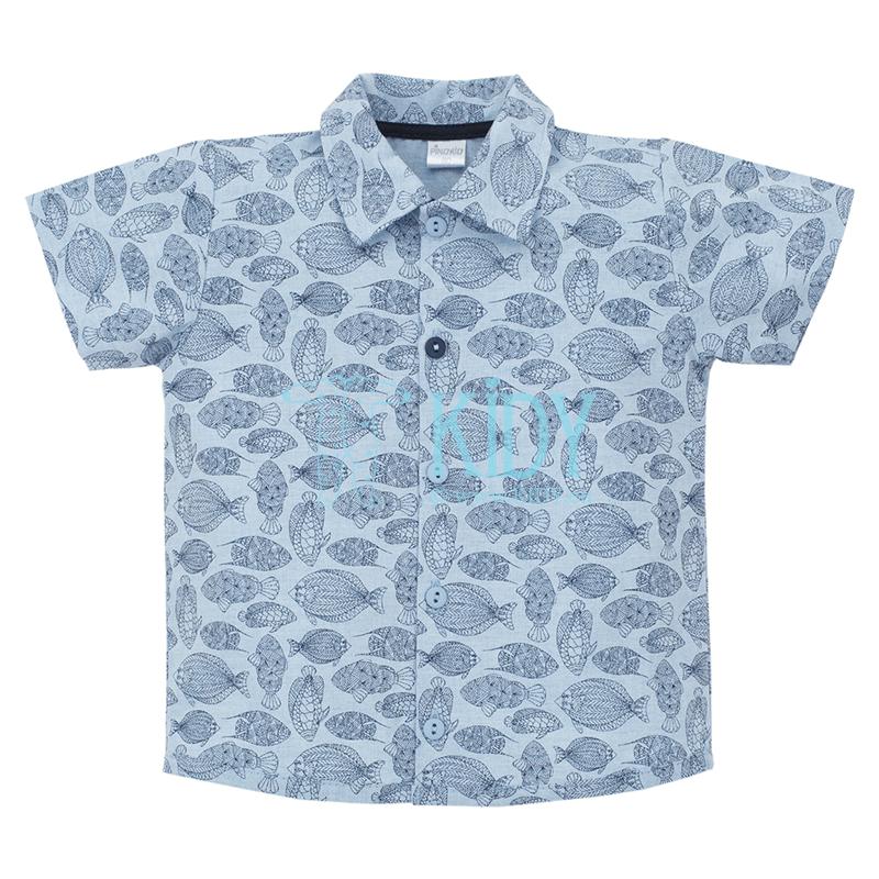 Mėlyni marškiniai LITTLE FISH trumpomis rankovėmis