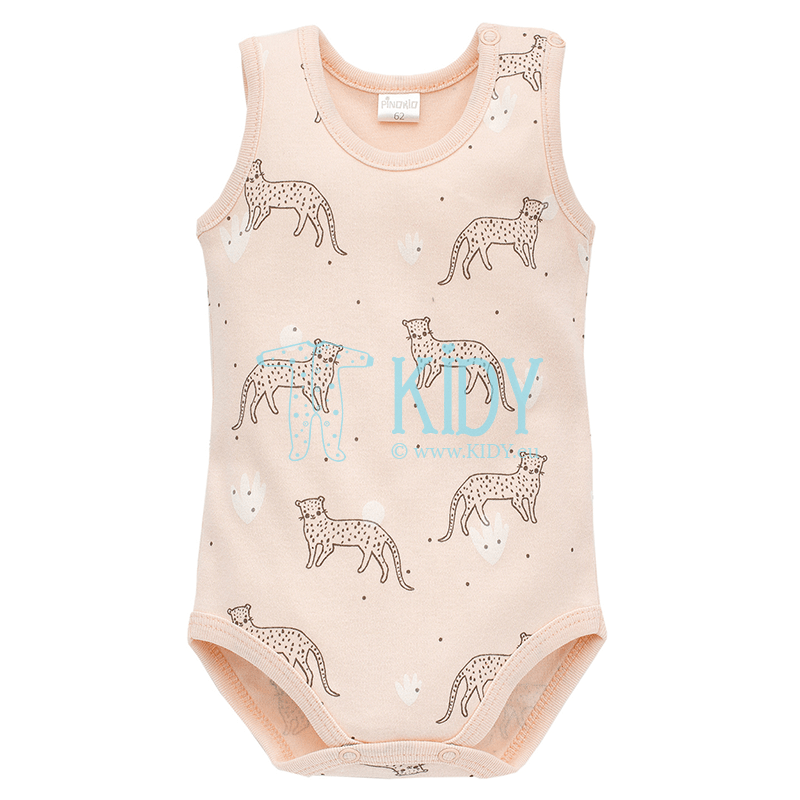 Pink SWEET PANTHER sleeveless bodysuit for baby girl
