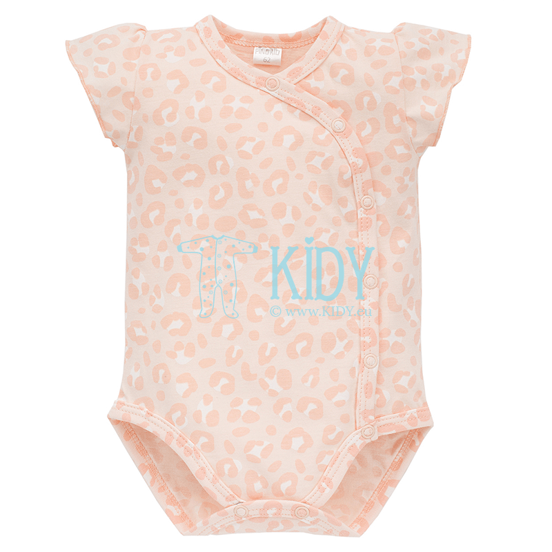 Pink SWEET PANTHER kimono bodysuit with short sleeves